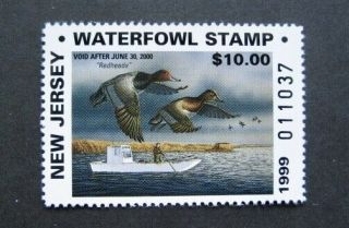 1999 Jersey State Duck Migratory Waterfowl Stamp Mnhog Non - Resident