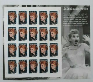 2001 Lucille Ball Legends Of Hollywood 7,  Mnh Sheet 20 X 34¢ Stamps