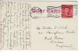 1911 Pre Cancel N.  T.  E.  ? On Minn Postcard To England.