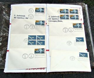 8 Moon Landing 1969 Dual Cancelled Cachet Space First Day Cover Plus Mercury