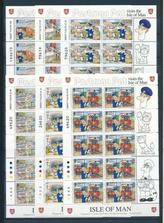 D000856 Cartoons Postman Pat Mnh Complete Set Of Sheetlets Isle Of Man