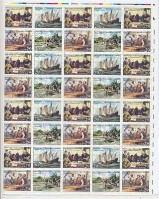 C29866 First Voyage Of Christopher Colombus Mnh Folded Sheetlet Usa Face $11.  60