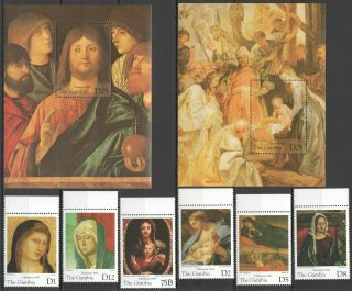 S1398 1995 Gambia Art Paintings Christmas 95 2207 - 14 Michel 32 Euro Set,  2bl Mnh