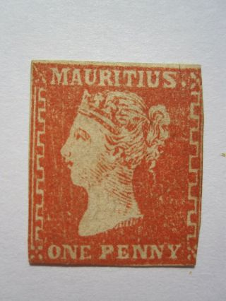 Mauritius 1859 1d Dardenne Sg42 Dull Vermillion Imperf - Hinge Remnant