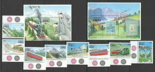 S979 1991 Dominica Transport Trains Railways 1364 - 71 Michel 25,  5 Eu 2bl,  Set Mnh