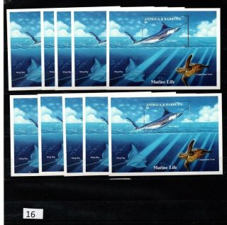 == 10x Antigua And Barbuda - Mnh - Fish - Turtle