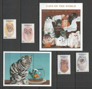 S455 1997 Dominica Fauna Cats Of The World 2294 - 06 Michel 26,  5 Eu Set,  Bl,  Kb Mnh