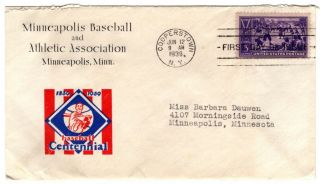 Fdc 1939 Baseball Stamp Scott 855 On Nim Minneapolis Millers Corner Card