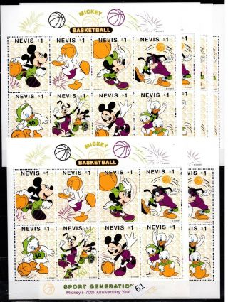 / 6x Nevis - Mnh - Disney - Cartoons - Dogs - Mickey - Sport - Basketball