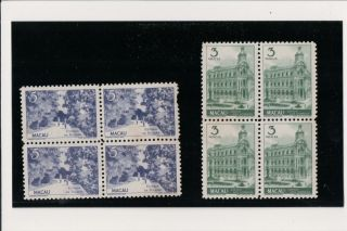 China Macau Macao 1948 View Block Of 4 Unmounted,