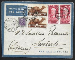 Italian Ethiopia Covers 1936 Mixed Franked Militairy Airmailcover To Suvereto