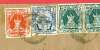Burma 10r,  2r,  1r X 4,  On Registered Cover To London Uk