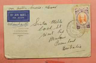 1941 Kelantan Oas Fpo 504 Cancel Airmail To Australia Raf Wwii Censored