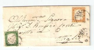 Italy 1863 Cover Mixed Franking Sardinia 5c. ,  10c.  From Casale To Ottiglio