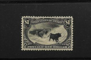 Us Scott 292 Very Lightly Hinged $1 Trans Miss Cattle In Storm,  Pf Cert Vf