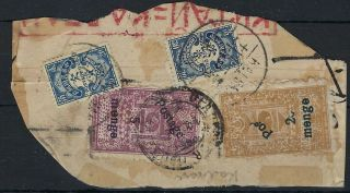 Mongolia 1930s Piece With 20m On 20c With Large Part Postage Omitted