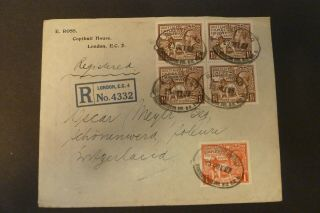 Gb 1927 Registered Cover London To Switzerland Block Of 4 1925 1 1/2d Wembley