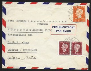 Netherlands Indies Covers 1948 Mixed Franked Airmailcover Pontianiak To Augsburg