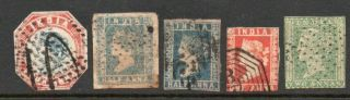 India 1854 Five Different Stamps