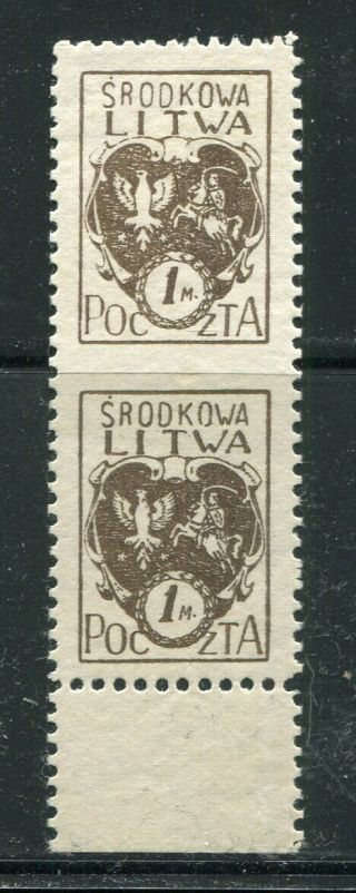 X10 - Poland Central Lithuania 1920 Scott 4 Mh Pair Imperforated Between Error