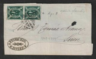 Bolivia 1868 Scott 1 Deep Green Pair On Petosi Cover Front Only To Sucre