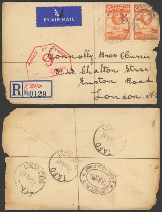 Gold Coast 1940 - Registered Cover To London England - Censor 34820/12