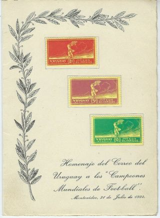 Uruguay 1924 Olympic Football Victory Yellow Paper Set In Special Folder