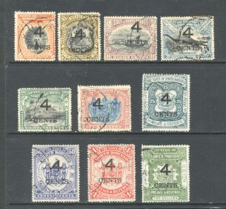 North Borneo,  10 X Surcharged Stamps Fine,