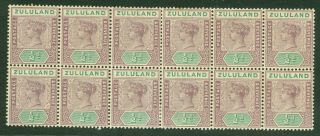 Sg 20 Zululand 1894.  ½d Dull Mauve & Green.  Block Of 12