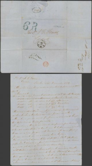 Portugal 1854 - Stampless Cover Lisbon To Cadiz Spain 32732/3