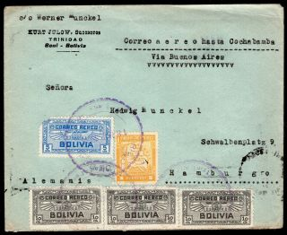 Bolivia 1938 Airmail Cover W/stamps From Beni To Germany Via Buenos - Aires