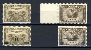 4x Canada Mnh Airmail Stamps C - 1 To C4 Never Hinged Cat.  Value = $255.  00
