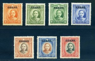 1932 Sinkiang Ovpt On Sys Complete Set Chan Ps83 - 89