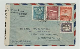 1943 Airmail,  Censored Multi - Franked Cover To Chesterfield From Chile.