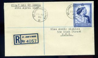 Gb 1948 £1 Silver Wedding £1 Registered First Day Cover.  Attractive
