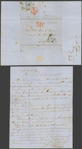 Portugal 1855 - Stampless Cover Lisbon To Cadiz Spain 32732/6