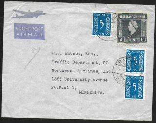Netherlands Indies Covers 1949 Mixed Franked Airmailcover Batavia To Minnesota