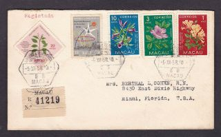 Macao 1958 Registered Multi Franked Cover To The Usa Christmas Seal Usa On Rever