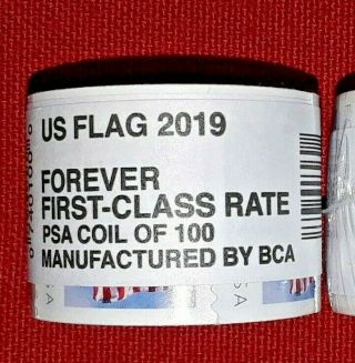 One (1) Roll /coil Of 2019 Us Flag Usps Forever Postage Stamps Mfg By Bca 5343