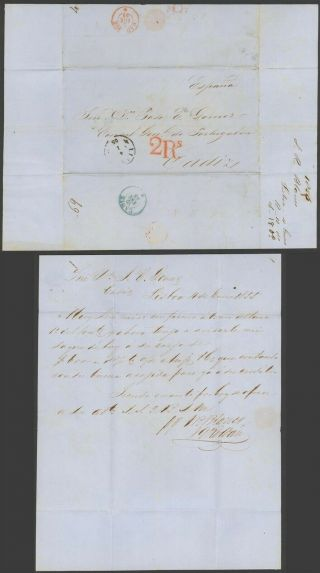 Portugal 1855 - Stampless Cover Lisbon To Cadiz Spain 32732/5