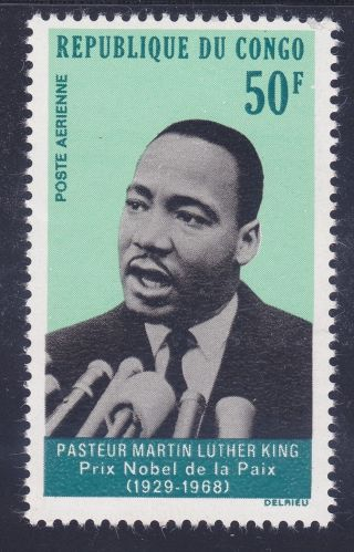 Congo (pr) C70 Mnh 1968 Martin Luther King Jr.  Airmail Issue Very Fine
