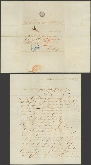 Portugal 1847 - Stampless Cover Lisbon To Cadiz Spain 32732/1