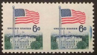 1338de,  6c Flag Over White House,  Horizontal Pair,  Imperforate Between,  Nh,  Xf