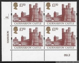 Gb 1992/95 £1.  50 Castles High Value Plate Block Of 4,  Plate 4b.  Mnh