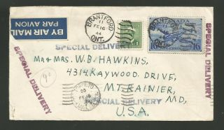 1944 Canada Special Delivery Franked Cover To Us
