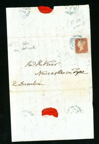 Blue 80 Numeral Postmark 1849 Large Part Cover To Newcastle Upon Tyne (au266)