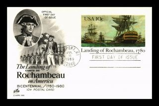 Dr Jim Stamps Us Landing Of Rochambeau Fdc Art Craft Postal Card