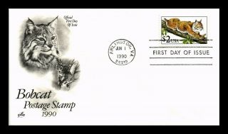 Dr Jim Stamps Us Bobcat High Value $2 First Day Cover Art Craft