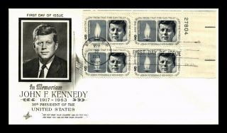 Dr Jim Stamps Us John F Kennedy Scott 1246 Fdc Cover Plate Block Art Craft