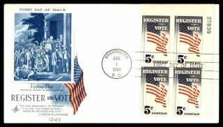 Mayfairstamps Us Fdc 1964 Register To Vote Plate Block American Flag Art Craft F